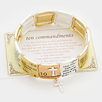 Ten Commandments cross charm stretch bracelet