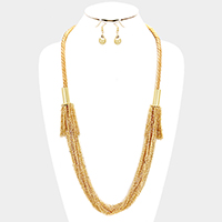Multi-strand chain tassel long necklace