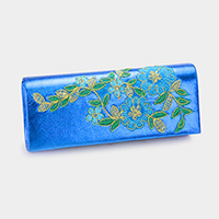 Embroidered flower metallic satin clutch bag with strap