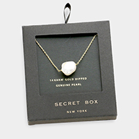 Secret box _ 14K gold dipped genuine pearl pendant necklace