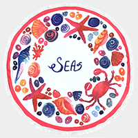 Sea life _ Round beach terry towel