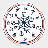 Nautical anchor _ Round beach terry towel