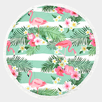Tropical flamingo _ Round beach terry towel