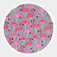 Flamingo _ Round beach terry towel