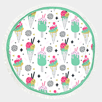 Icecream cone _ Round beach terry towel