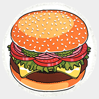 Hamburger _ Round beach terry towel