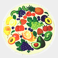 Fruit _ Round beach towel