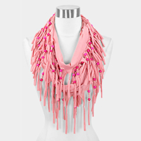 Jersey fringe infinity scarf with wood beads