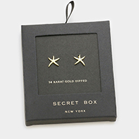 Secret box _ 14K gold dipped starfish stud earrings