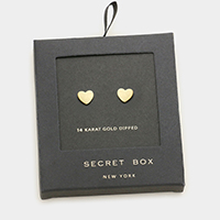 Secret box _ 14K gold dipped heart stud earrings