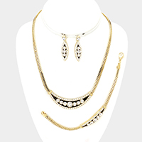 3-PCS Crystal embellished metal necklace jewelry set