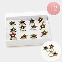 12 PCS - Assorted size pave star rings
