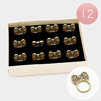 12 PCS - Assorted size pave bow rings