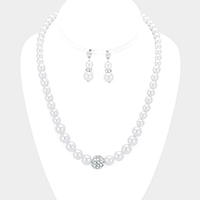 Pave ball & pearl strand necklace