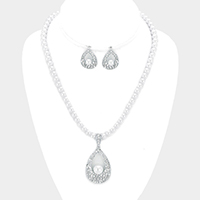 Pave pendant pearl strand necklace
