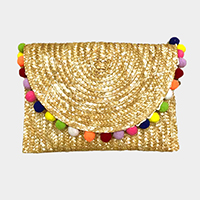 Pom Pom Straw Clutch Bag
