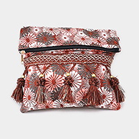 Oriental Pattern Tassel Clutch Bag