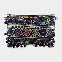 Oriental Pattern Tassel Clutch Bag with Strap