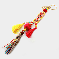Pom Pom & Tassel Flower Embroidered Key Chain