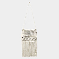 Crochet Fringe Crossbody Bag