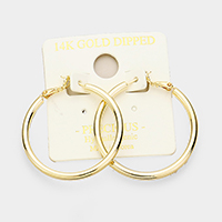 14K Gold Dipped 4 cm Hypoallergenic Hoop Earrings