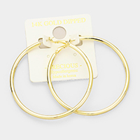 14K gold dipped 6 cm Hypoallergenic hoop earrings