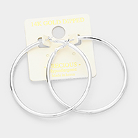 14K white gold dipped 6 cm Hypoallergenic hoop earrings