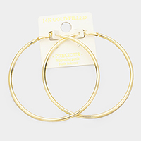 14K gold dipped 8 cm Hypoallergenic hoop earrings