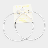 14K white gold dipped 8 cm Hypoallergenic hoop earrings