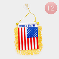 12 PCS - American flag mini banners with suctions