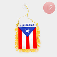 12 PCS - Puerto Rico flag mini banners with suctions