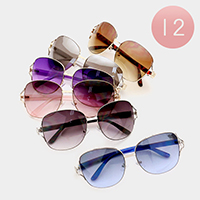 12 Pairs - Square aviator sunglasses