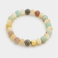 Natural Gemstone Round Beads Stretch Bracelet