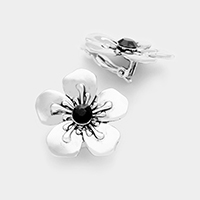 Flower clip on earrings