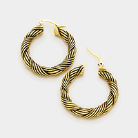Twisted embossed metal hoop pin catch earrings