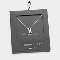 Secret box _ White gold dipped CZ pink ribbon pendant necklace