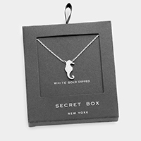 Secret box _ White gold dipped CZ seahorse pendant necklace