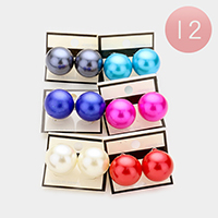 12 Pairs - Chunky pearl clip on earrings