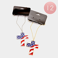 12 PCS - American flag cross pendant necklaces