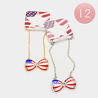 12 PCS - American flag bow pendant necklaces