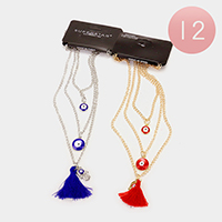 12 PCS - Triple layer evil eye hamsa hand & tassel pendant necklaces