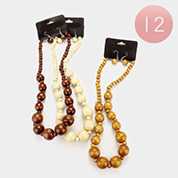 12 PCS - Wood bead strand necklaces