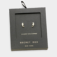 Secret box _ 14K gold dipped CZ seahorse stud earrings