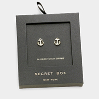 Secret box _ 14K gold dipped CZ anchor stud earrings