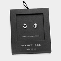 Secret box _ White gold dipped CZ anchor stud earrings