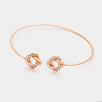 Crystal detail love knot tip cuff bracelet
