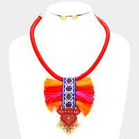 Embroidered band detail tassel bib rope necklace
