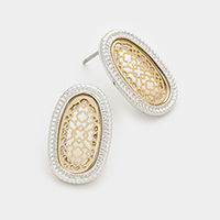 Two tone oval moroccan earrings