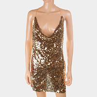 Sequin cami dress front body chain necklace