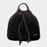 Crochet straw backpack bag with drawstring rope strap